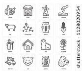 set of 16 icons such as potato  ...