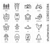 set of 16 icons such as cowbell ...
