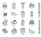 set of 16 icons such as shoe ...