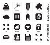 set of 16 icons such as expand  ...