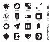 set of 16 icons such as arroba  ...