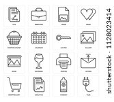 set of 16 icons such as plug ... | Shutterstock .eps vector #1128023414