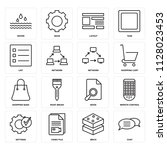 set of 16 icons such as chat ...
