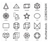 set of 16 icons such as sphere  ...