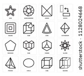 set of 16 icons such as squares ...