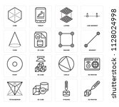 set of 16 icons such as 3d...