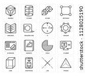 set of 16 icons such as pyramid ...