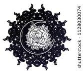 sacred geometry. dark magic... | Shutterstock .eps vector #1128030074