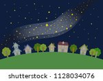 milky way and night town  ...   Shutterstock .eps vector #1128034076