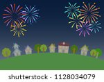 fireworks and night town  ...   Shutterstock .eps vector #1128034079