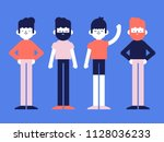 Stock vector flat style vector illustration group of man men boy boys people character young simple 1128036233
