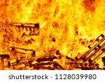 burning fire. bonfire. fire... | Shutterstock . vector #1128039980