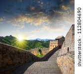 sunset great wall | Shutterstock . vector #112804690