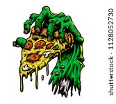 zombie hand with pizza   Shutterstock .eps vector #1128052730