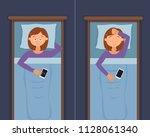 sleepless woman face cartoon...   Shutterstock . vector #1128061340