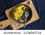 dirty empty dish with pieces of ... | Shutterstock . vector #1128063716