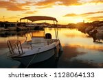 boat in sea port at colorful...   Shutterstock . vector #1128064133