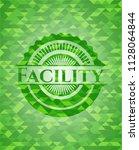 facility realistic green emblem....   Shutterstock .eps vector #1128064844