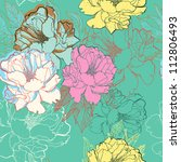 vector floral seamless pattern...   Shutterstock .eps vector #112806493