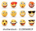 3d rendering set of emoji... | Shutterstock . vector #1128068819