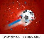 classic soccer ball flying to... | Shutterstock .eps vector #1128075380