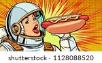 hungry woman astronaut eating... | Shutterstock .eps vector #1128088520
