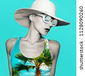 collage art stylish lady in...   Shutterstock . vector #1128090260