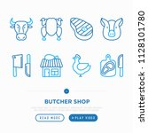 butcher shop thin line icons... | Shutterstock .eps vector #1128101780