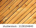yellow diagonal wood plank... | Shutterstock . vector #1128104840