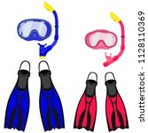 collection for scuba diving or... | Shutterstock .eps vector #1128110369