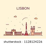 lisbon city skyline  portugal.... | Shutterstock .eps vector #1128124226
