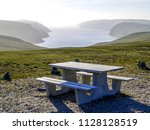 picnic area at a viewpoint ... | Shutterstock . vector #1128128519
