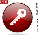 key cherry red glossy round web ... | Shutterstock .eps vector #1128133079