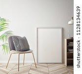 living room interior wall mock...   Shutterstock . vector #1128134639