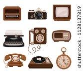 vintage technologies set  retro ...   Shutterstock .eps vector #1128137819