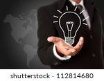 light bulb in business hand... | Shutterstock . vector #112814680