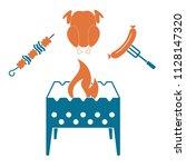 brazier  kebab  chicken and... | Shutterstock .eps vector #1128147320