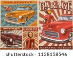 set of vintage car metal signs  ... | Shutterstock .eps vector #1128158546