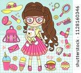 little girl holding teddy bear...   Shutterstock .eps vector #1128160346