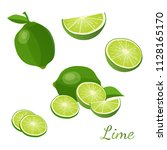 lime with green leaves isolated ... | Shutterstock .eps vector #1128165170