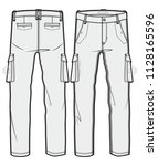 cargo pants with large side...   Shutterstock .eps vector #1128165596