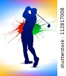 male golf player   web and... | Shutterstock .eps vector #112817008