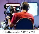 professional cameraman with... | Shutterstock . vector #112817710