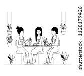 women in the table drinking... | Shutterstock .eps vector #1128179426