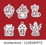 set of christmas decoration ... | Shutterstock .eps vector #1128184973