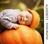 Sweet Baby With Pumpkin Hat...