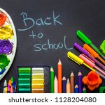back to school  school supplies ... | Shutterstock . vector #1128204080