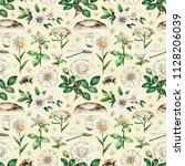summer seamless pattern with... | Shutterstock . vector #1128206039