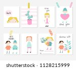 set of cute cards with girls... | Shutterstock .eps vector #1128215999