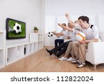 jubilant family watching... | Shutterstock . vector #112822024